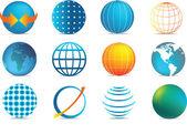 Colour globe icons — Stock Vector