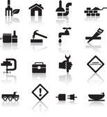 Construcción y bricolaje icono conjunto — Vector de stock
