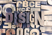 Design word on letterpress — Stock Photo