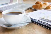 Business breakfast with coffee — Stock Photo