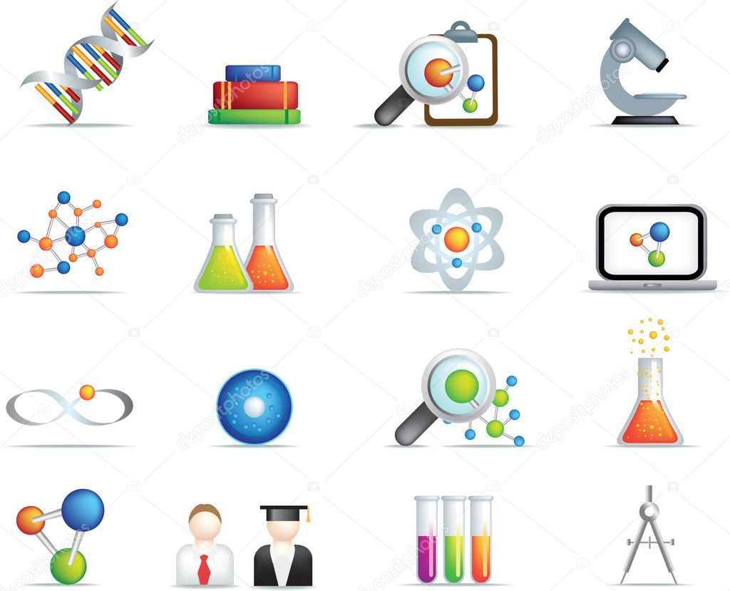 Detailed set of scientific research icons and items on white background — Imagen vectorial #3349378