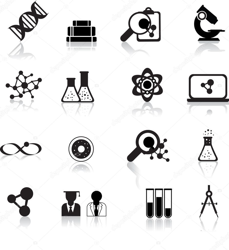 Set of black scientofic silhouette icons with reflection — Векторная иллюстрация #3349385