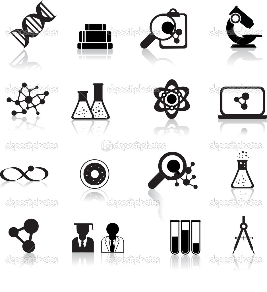Set of black scientofic silhouette icons with reflection — Imagen vectorial #3349385