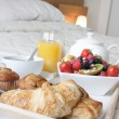 Stock Photo: Breakfast in bed close up