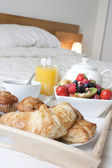 Breakfast in bed close up — Stock Photo