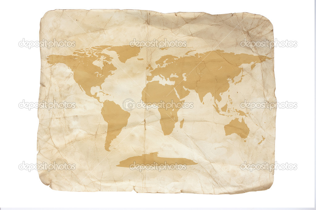 Visual of an old map of old torn yellow paper — Stock Photo #3636946
