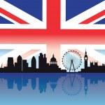 Detailed silhouette of london skyline — Stock Vector