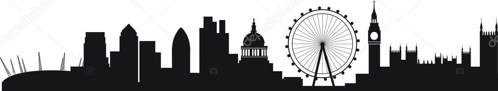 All buildings are on separate layers and named, including the millenium dome, canary wharf, the wheel, the city and westminster and big ben — Imagen vectorial #3749752