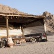 Bedouin tent in the egyptian dessert - Stock Photo