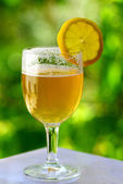 Glass of cold beer and lemon. — Stock Photo