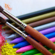 Royalty-Free Stock Photo: Colored pencils and brushes.