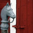 Horse head hitching post — Stock Photo