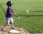 Hitting the baseball — Stock Photo
