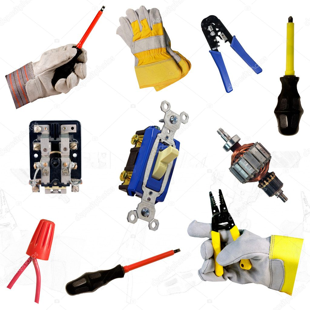 Electricians tool collection isolated over white background — Stock Photo #3616470