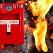 Fire alarm with fire background - Stock Photo
