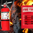 Horn alarm light and fire extinguisher — Stock Photo