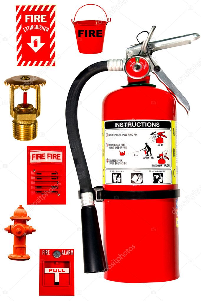 Fire protection collection isolated over white background — Stock Photo #3845731