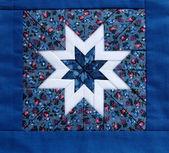 Edredón azul estrella — Foto de Stock