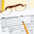 Filing of Tax form 1040 — Stock Photo