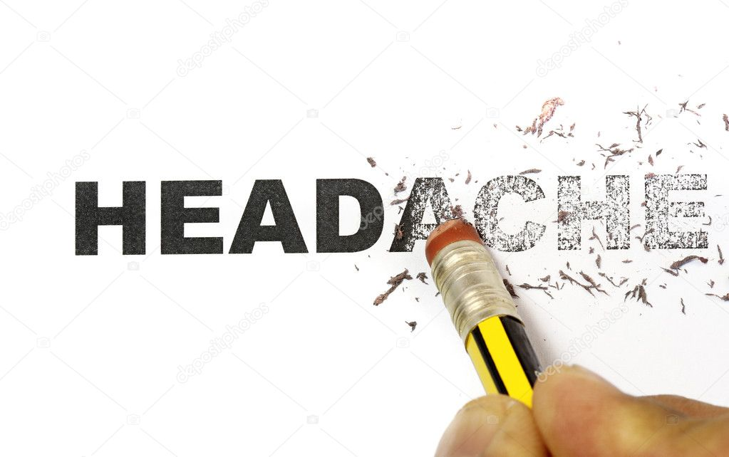 Word headache being erased by eraser concept.  Stock Photo #2816566