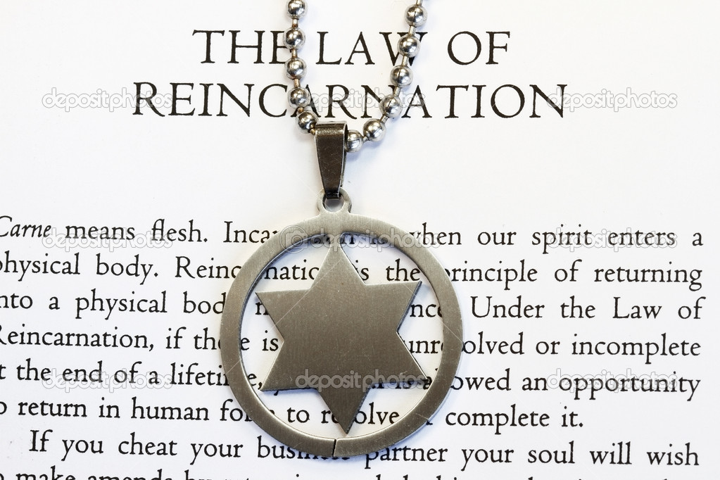 Hexagram on the law of reincarnation chapter of book in quantum physics. — Stock Photo #2816574