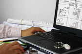 Draftsman doing his work on the computer - drafting welding symbols. — Stock Photo