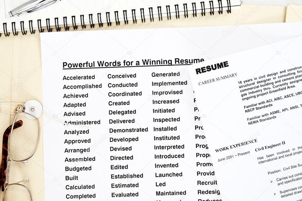 powerful words resume stock photo 3769859
