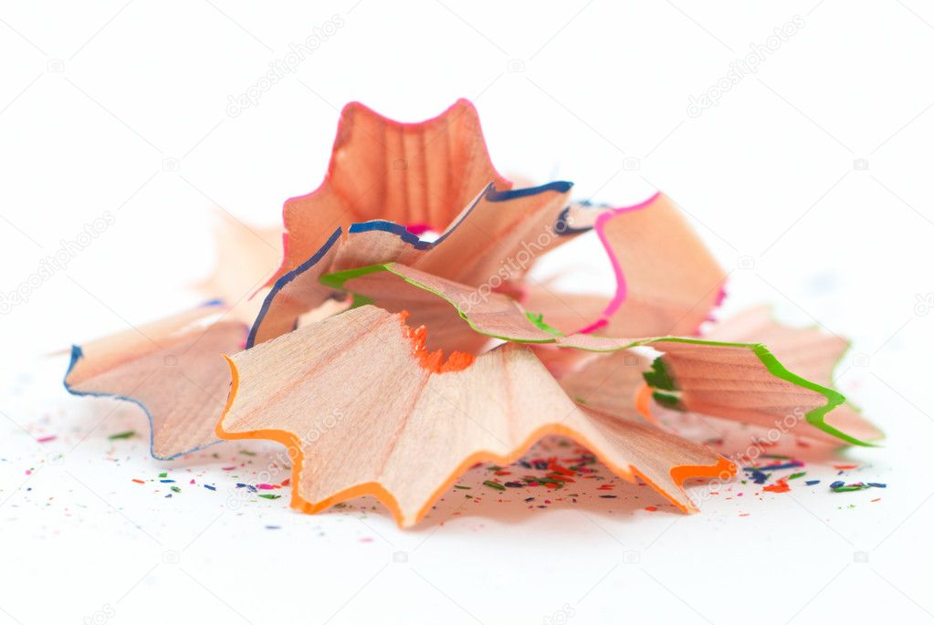 Pencil shavings isolated on white — Stock Photo #3629357
