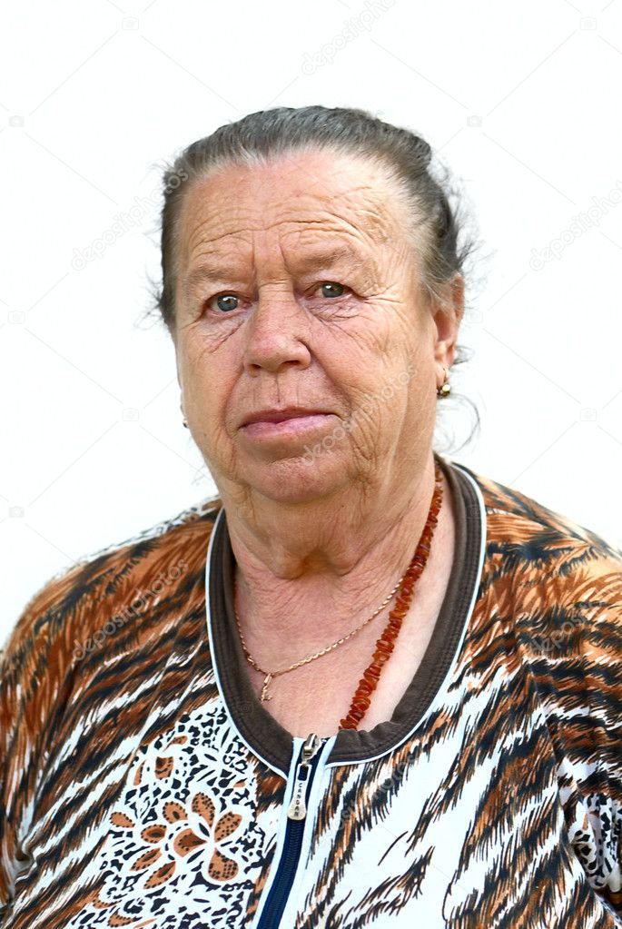 Old woman on a white background  Stock Photo #3629371