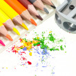 Pencils with a sharpener — Stock Photo