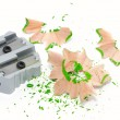 Sharpener with shavings — Stock Photo