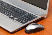 Silver laptop — Stock Photo