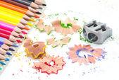 Pennvässare med färgpennor — Stockfoto