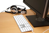 Monitor with headsets — Stock Photo