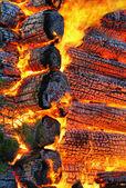 Burning wooden house. Background — Stock Photo