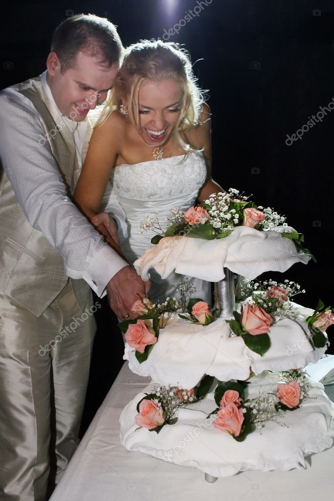 Happy couple cutting wedding cake — Stock Photo #2954965