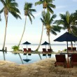 Tropical resort with swimming pool — Stok fotoğraf