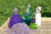 Lavender and aloe vera in cosmetic — Stock Photo