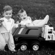 Stock Photo: Twins in car