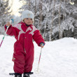 Toddler skiing - Stock Photo