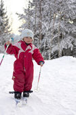 Toddler skiing — Stock Photo