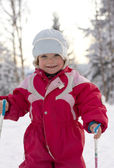 Toddler skiing — Stock Photo