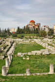 Ruins of Greek ancient cemetery with Holy Trinity Church on back — Stock Photo
