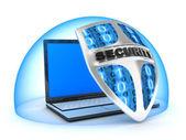 Laptop e escudo — Foto Stock