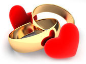 Rings and heart — Stock Photo