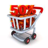Cart and percent 50 — Stock Photo