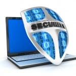 Laptop and shield antivirus — Stock Photo