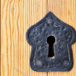 Stock Photo: Old black keyhole on wooden door