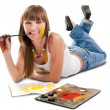 Stock Photo: Beautiful girl artist