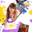 Beautiful girl artist — Stock Photo